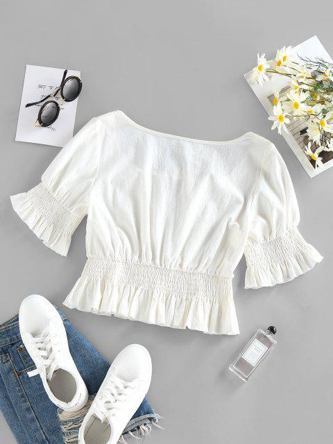 affordable ZAFUL Keyhole Smocked Ruffle Blouse - WHITE S Mobile