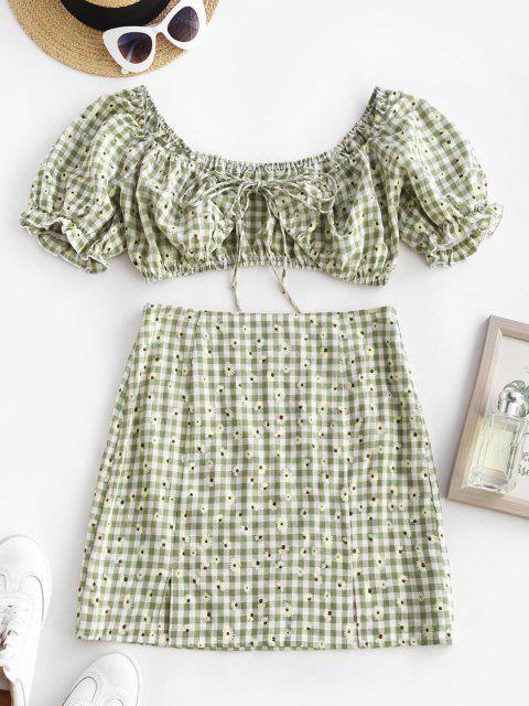 latest Daisy Gingham Ruffle Puff Sleeve Slit Skirt Set - LIGHT GREEN S Mobile