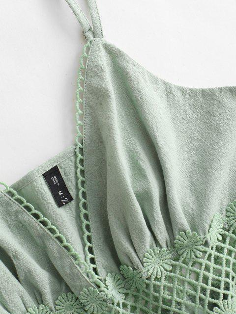 unique Side Zipper Lace Applique Cami Romper - LIGHT GREEN M Mobile