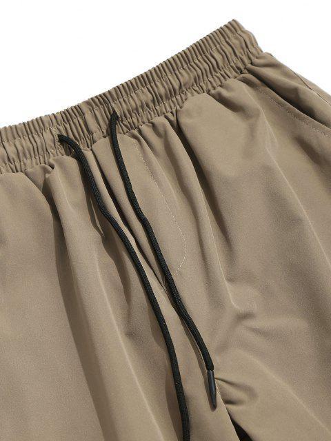 Pantalones de Carga con Correa de Hebilla de Multi-bolsillo - Caqui Claro L Mobile