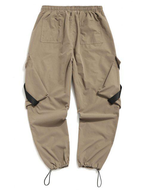 women Buckle Strap Multi-pocket Toggle Cuff Cargo Pants - LIGHT KHAKI 2XL Mobile
