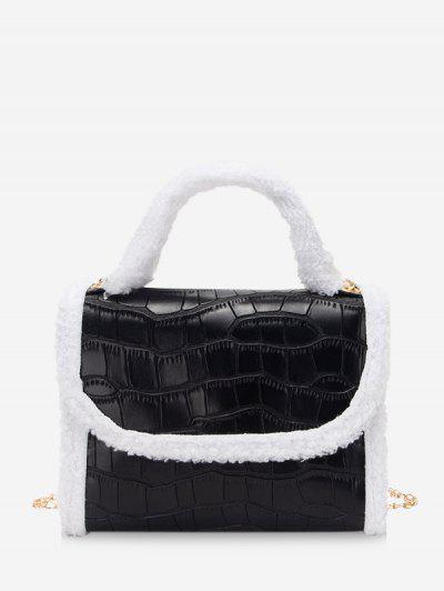 Fluffy Edge Chain Cover Handbag - Black