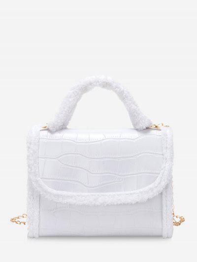 Fluffy Edge Chain Cover Handbag - White