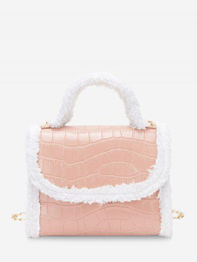 Fluffy Edge Chain Cover Handbag - Pink