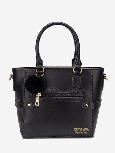 Pom Pom Pendant Tote Bag - Black