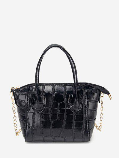 Chain Stone Grain Tote Bag - Black