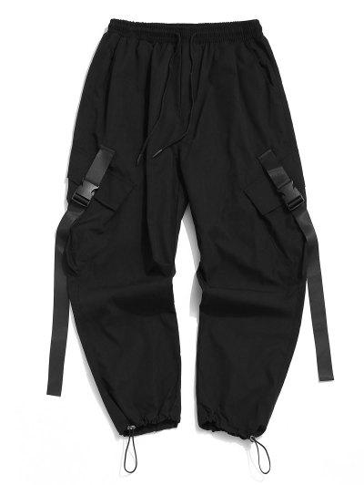 Buckle Strap Multi-pocket Toggle Cuff Cargo Pants - Black 2xl