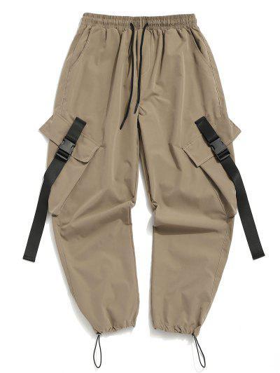Buckle Strap Multi-pocket Toggle Cuff Cargo Pants - Light Khaki M