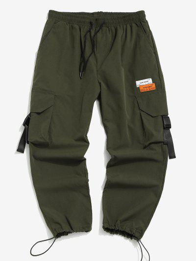 Letter Patches Multi-pocket Cargo Pants - Jungle Green Xs