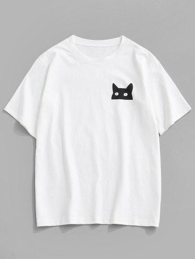 ZAFUL Cartoon Cat Print Basic T-shirt - White S