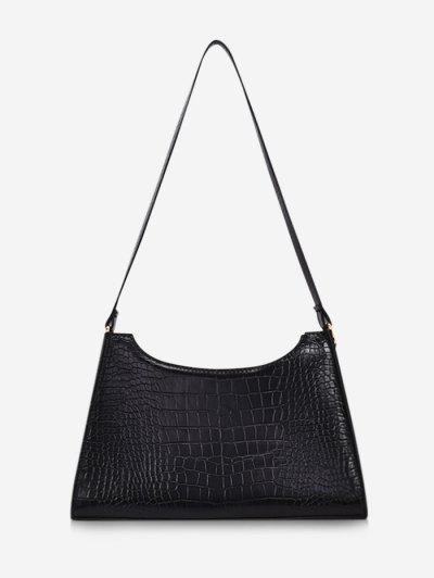 Retro Textured Shoulder Bag - Black