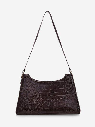 Retro Textured Shoulder Bag - Deep Coffee