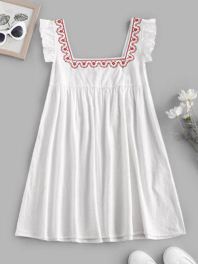 Ruffle Armhole Embroidered Smock Dress - White L