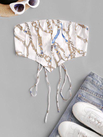 Chain Print Lace Up Pintuck Bandana Top - White M