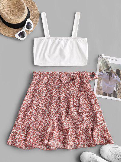 Ditsy Print Ruffle Tie Side Overlap Skirt Set - Red L