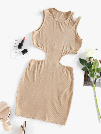 ZAFUL Ribbed Cutout Bodycon Tank Dress - Light Coffee S