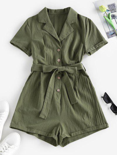 ZAFUL Belted Lapel Rolled Button Placket Romper - Green L