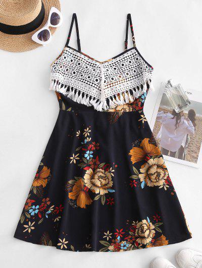 Flower Print Crochet Tassel Tie Back Dress - Deep Blue L