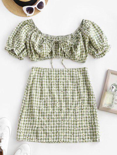 Daisy Gingham Ruffle Puff Sleeve Slit Skirt Set - Light Green S