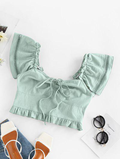 ZAFUL Cinched Slit Ruffle Smocked Crop Blouse - Light Green L