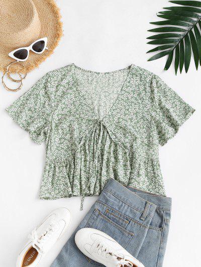 ZAFUL Tiny Floral Print Bowknot Blouse - Light Green L