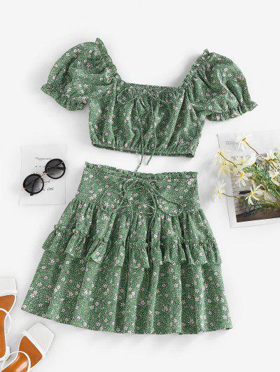ZAFUL Flower Polka Dot Ruffle Smocked Tiered Skirt Set - Green S