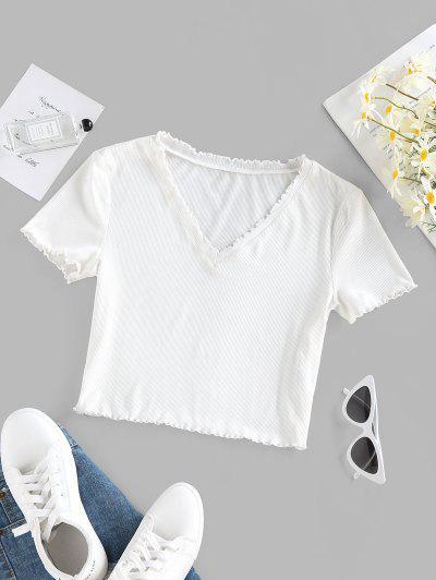 ZAFUL Ribbed Lettuce Trim V Neck T Shirt - White L