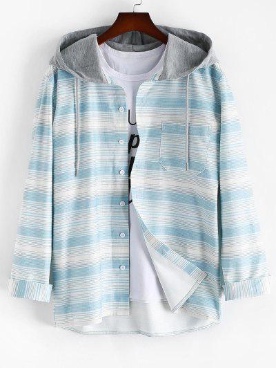 Gestreifter Druck Taschen Hemd Mit Kapuze - Hellblau 2xl