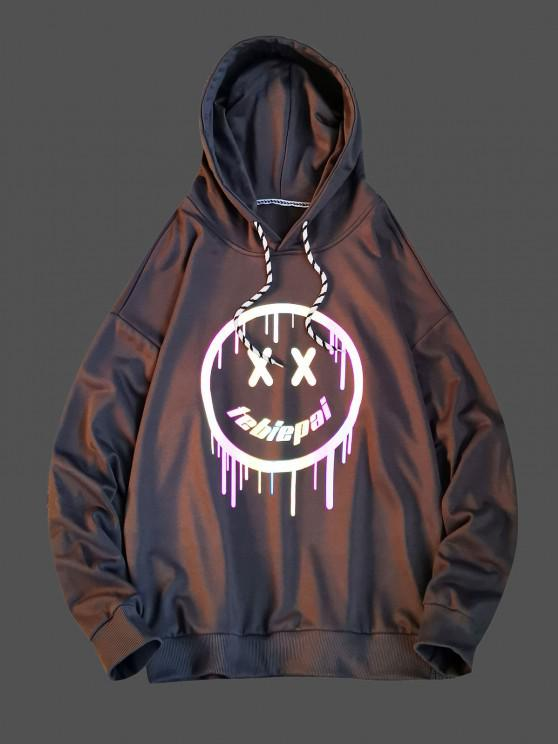 new Luminous Drippy Happy Face Print Drop Shoulder Hoodie - GRAY XS