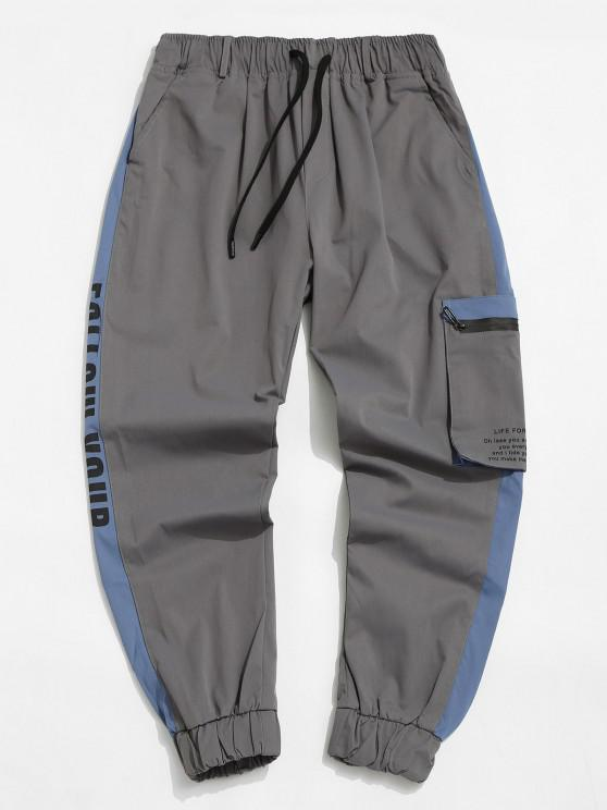 chic Contrast Panel Letter Print Cargo Pants - LIGHT GRAY XS
