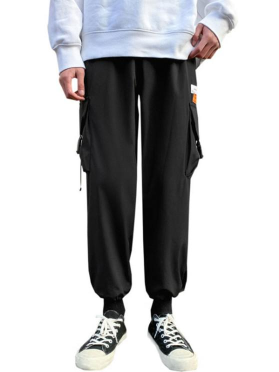 Letter Patches Multi-pocket Cargo Pants - أسود M