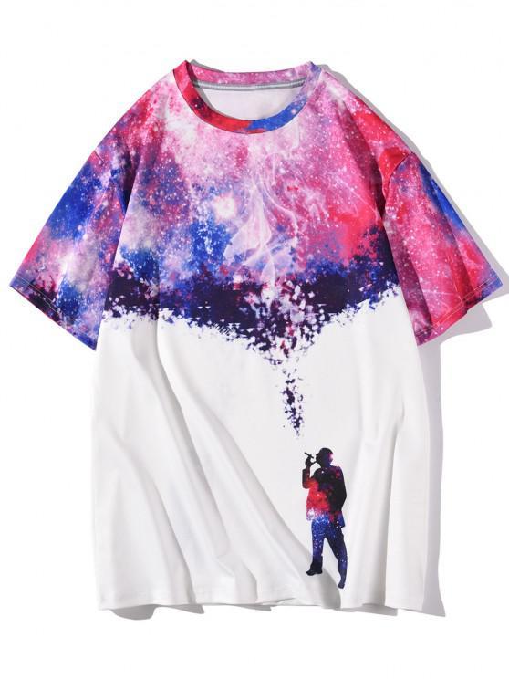 T-shirt Galaxie Figure Imprimé à Manches Courtes - Blanc XXL