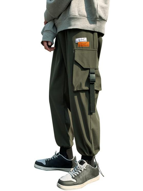 latest Letter Patches Multi-pocket Cargo Pants - JUNGLE GREEN XS