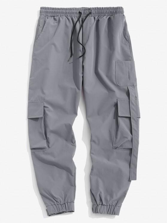 Multi Pockets Patched Cargo Pants - اللون الرمادي S