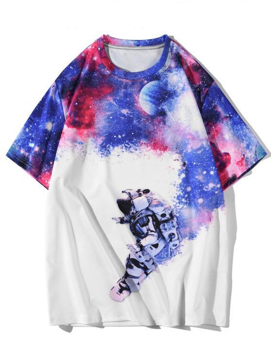 buy Galaxy Moon Astronaut Short Sleeve T-shirt - WHITE L