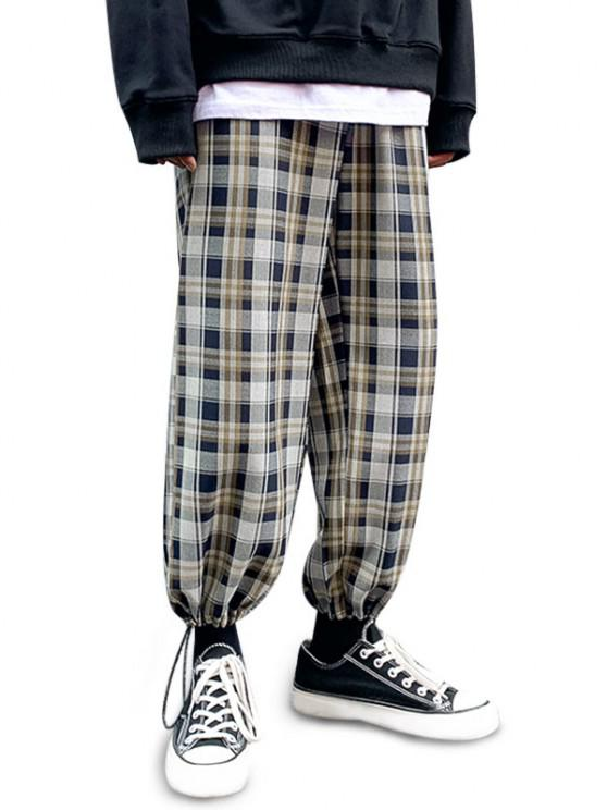 Plaid Pattern Toggle Cuff Drawstring Pants - منتصف الليل الأزرق M