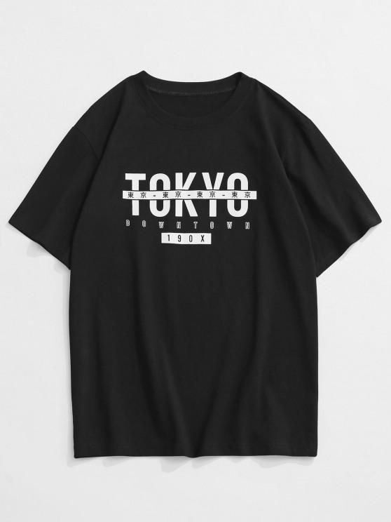 ZAFUL TOKYO Print Graphic T-shirt - أسود XS