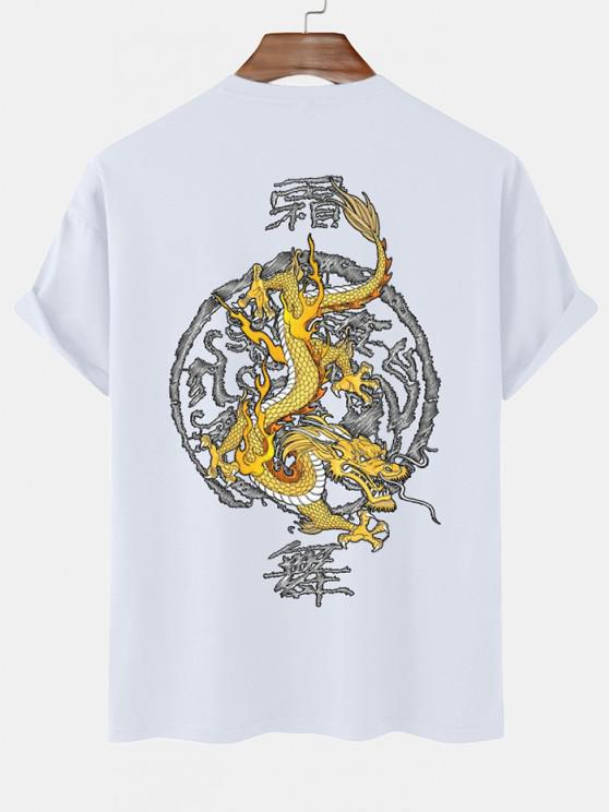 outfit Dragon Chinoiserie Short Sleeve T-shirt - WHITE XXL
