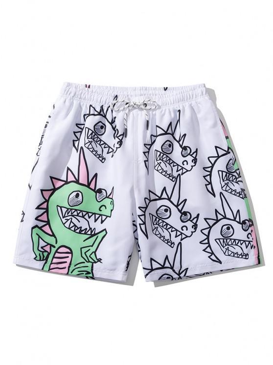 Hand-Painted Dinosaur Fun Print Drawstring Casual Shorts - أبيض XL