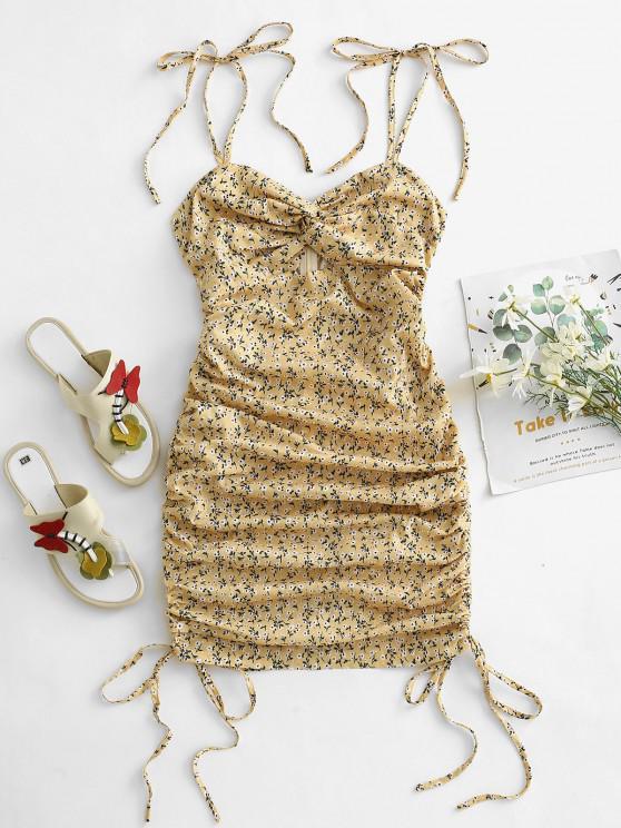 best Ditsy Floral Tie Shoulder Cinched Twist Mini Dress - LIGHT YELLOW L