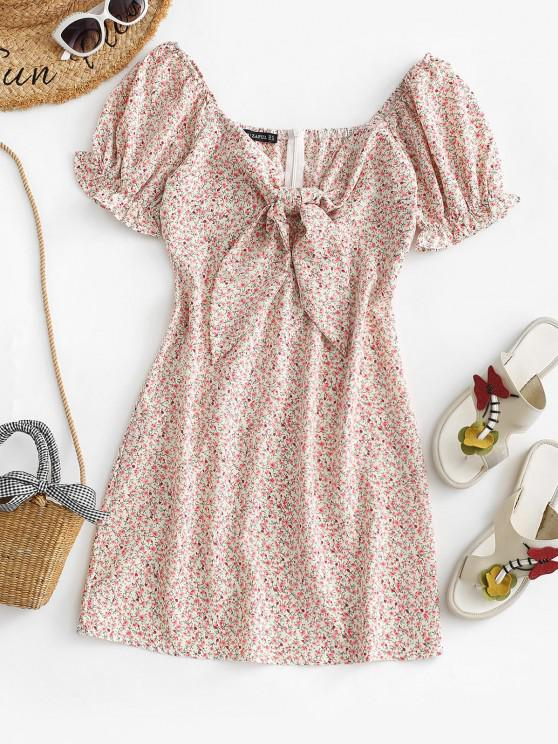buy Tiny Floral Puff Sleeve Tie Front Milkmaid Dress - LIGHT PINK S