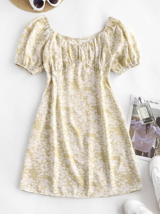 fashion Printed Ruched Bust A Line Milkmaid Dress - LIGHT COFFEE L