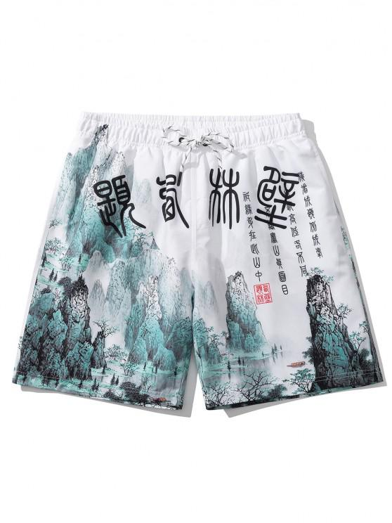 lady Ink Painting Print Oriental Casual Shorts - WHITE M