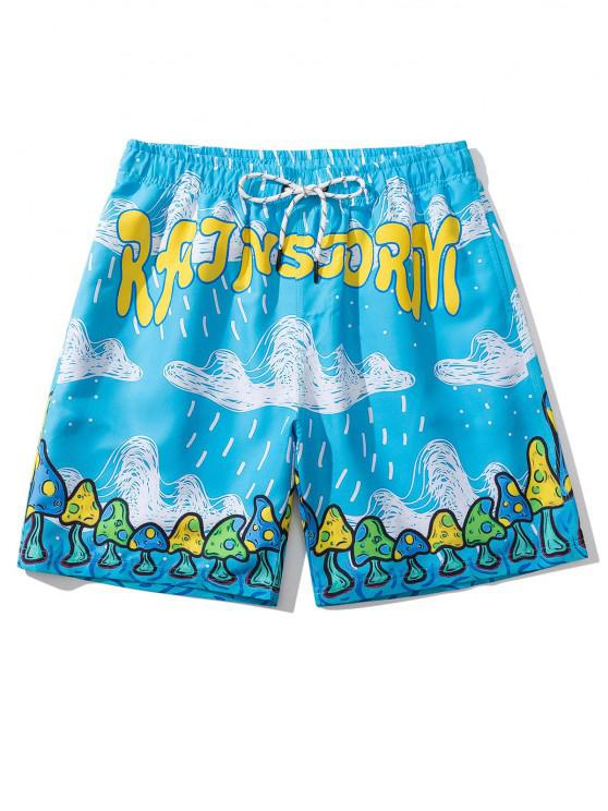 buy Letter Cloud Mushroom Print Vacation Shorts - DEEP SKY BLUE L