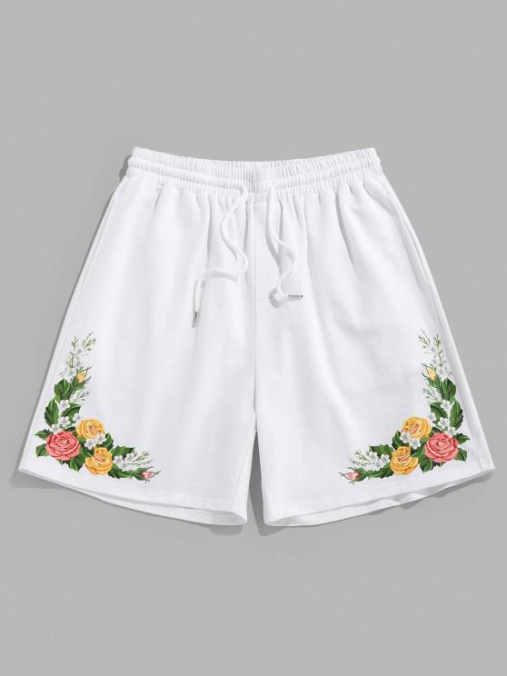 shop ZAFUL Flower Print Drawstring Sweat Shorts - WHITE M