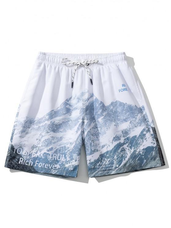 Short Décontracté Montagne Lettre Imprimée - Blanc L