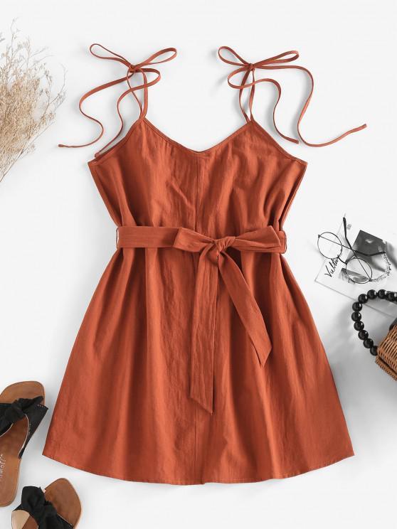 fashion ZAFUL Tie Shoulder Belted A Line Cami Dress - COFFEE M