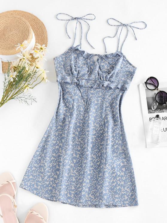 ZAFUL Robe Fleurie Imprimée à Epaule Nouée à Volants avec Trou de Serrure - Bleu Léger  S