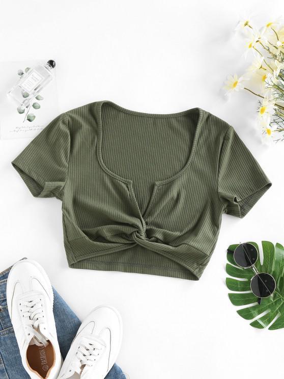 trendy ZAFUL Ribbed Twisted V Notch Crop T Shirt - DEEP GREEN S