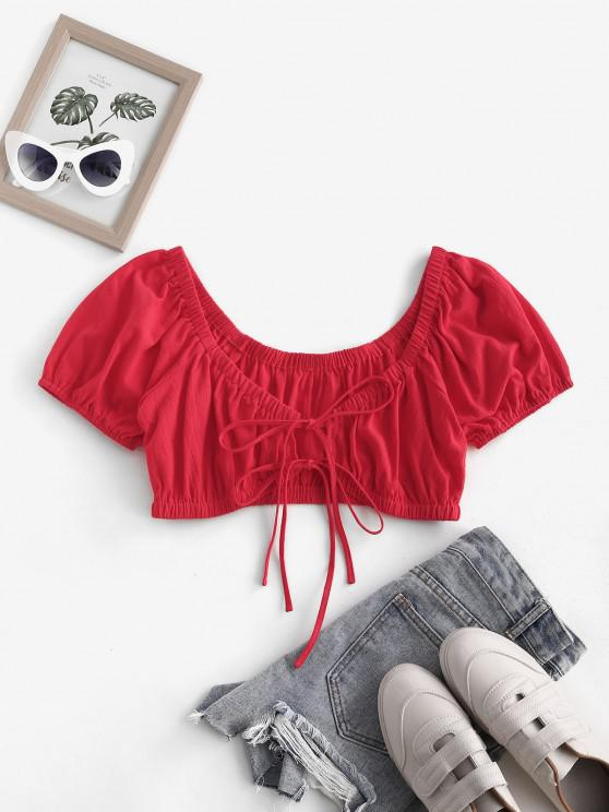 chic ZAFUL Ties Cut Out Off Shoulder Cropped Blouse - RED S